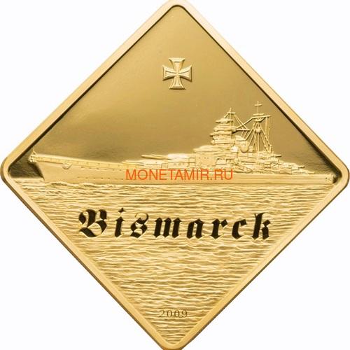 Палау 500 долларов 2009 Линкор Бисмарк Боевые Корабли (Palau 500$ 2009 The Bismarck Battleships 2,5oz Gold).Арт.60 (фото)