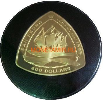 Бермуды 600 долларов 2007 Корабль Сан Педро Килограмм (Bermuda 600$ 2007 San Pedro Triangle Kilo Gold Coin).Арт.60 (фото)