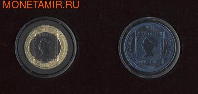 """Гибралтар 5 фунтов, 1/2 кроны 2000. Набор """"Марки"""" (фото)"""