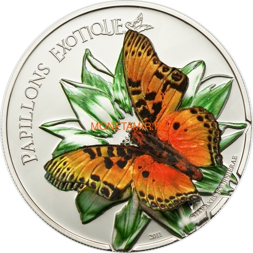 Камерун 1000 франков 2011 Бабочка Харакс серия Экзотические Бабочки 3D (Cameroon 1000 Francs 2011 Exotic Butterflies Charaxes Fournierae 3D Silver Coin).Арт.000190534492/60 (фото)