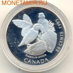 """Канада 50 центов 1995. Птицы. """"Белые куропатки"""" (фото)"""