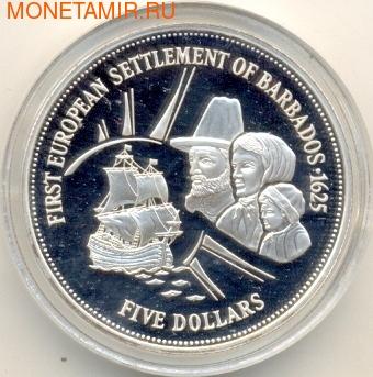Барбадос 5 долларов 1995. Первое европейское поселение Барбадоса - 1625 (фото)