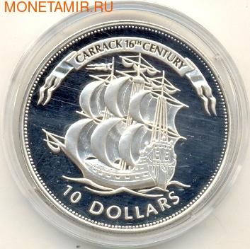 Белиз 10 долларов 1995. Карак 16-го века. (фото)