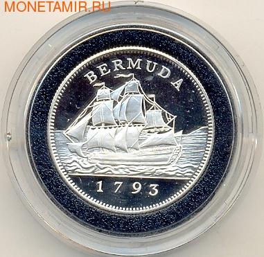 Бермуды 2 доллара 1993. Корабль (фото)