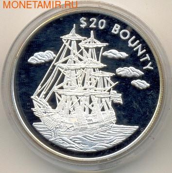 """Либерия 20 долларов 2000. Корабль """"Баунти"""" (фото)"""