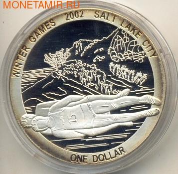 Острова Кука 1 доллар 2002. Зимние олимпийские игры. Санный спорт (фото)