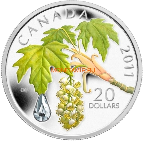Канада 20 долларов 2011 Клен Капля Дождя (Canada 20C$ 2011 Maple Raindrop Swarovski Silver Proof).Арт.000303635124/67 (фото)