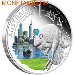 """Австралия 1 доллар 2011.""""Празднование Австралии"""" """"Восточная Австралия"""" """"Кенгуру"""" (фото)"""