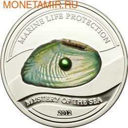 Палау 5 долларов 2012.Жемчужина зеленая - Тайна моря серия Защита морской жизни.Арт.000206838562/60 (фото)
