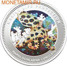 Палау 1 доллар 2012.Осьминог голубой кольчатый – Защита морской жизни.Арт.000062540036/60 (фото)