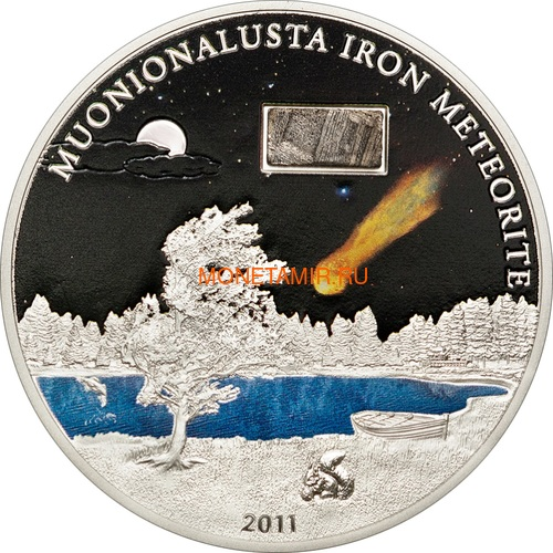 Острова Кука 5 долларов 2011 Метеорит Муонионалуста (Cook Islands 5$ 2011 Meteorite Muonionalusta).Арт.60 (фото)