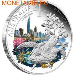 "Австралия 1 долларов 2010. ""Празднование Австралии"" ""Квинсленд"" ""Черепаха"" (фото)"