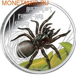 Тувалу 1 доллар 2012 Паук Ядовитый Воронковый серия Смертельно Опасные (Tuvalu 1$ 2012 Deadly Dangerous Funnel Web Spider).Арт.000342240960/60 (фото)