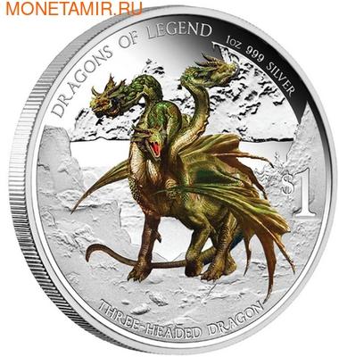 Тувалу 1 доллар 2013.Дракон Трёхглавый - Драконы из легенд.Арт.000334845517/60 (фото)