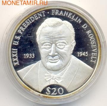 Президент - Франклин Делано Рузвельт. Либерия 20 долларов 2000. Арт: 154406 (фото)