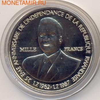 25-летие создания Национального банка. Руанда 1000 франков 1989. (фото)