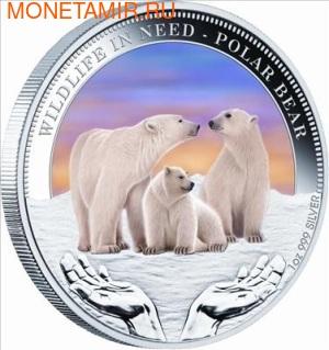 Тувалу 1 доллар 2012.Белые медведи серия Дикая природа в опасности.Арт.000287640390/60 (фото)