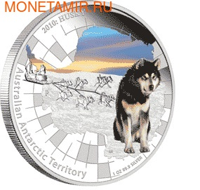 "Австралия 1 доллар 2010. Австралийские Антарктическиее территории: ""Хаски""."