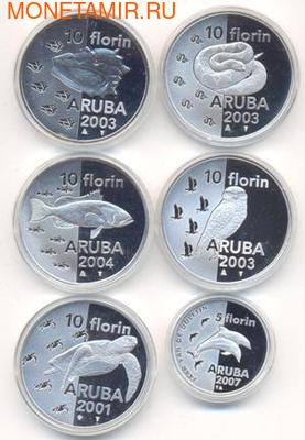 "Набор монет ""Животные Арубы"". Аруба. 2001-2007 5 х 10 флоринов, 5 флоринов. Арт: 001200042336 (фото)"