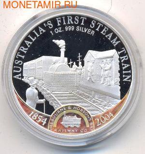 Острова Кука 1 доллар 2004. Первый паровоз Австралии. (фото)