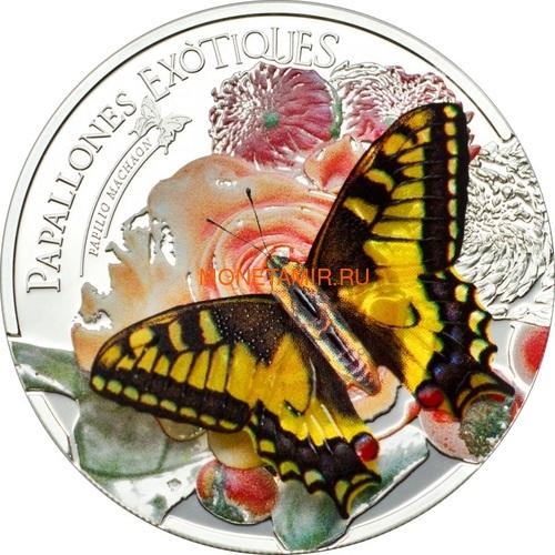 Андорра 5 динеров 2013 Бабочка Махаон серия Экзотические Бабочки 3D (Andorra 5 Diners 2013 Exotic Butterflies Papilio Machaon 3D Silver Coin).Арт.000233242561/60 (фото)