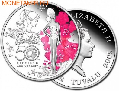 Тувалу 1 доллар 2009. Кукла Барби (фото)