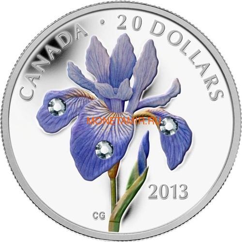 Канада 20 долларов 2013 Цветок Ирис Голубой Флаг Капля Дождя (Canada 20C$ 2013 Flower Blue Flag Iris Raindrop Swarovski Silver Proof).Арт.000338442914/67 (фото)