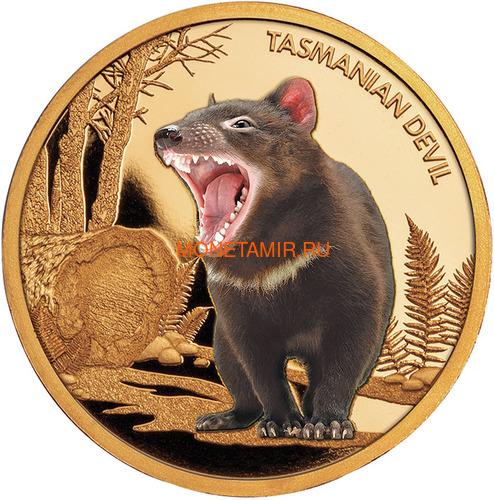 Ниуэ 100 долларов 2013 Тасманийский Дьявол Исчезающие Виды (Niue $100 2013 Tasmanian Devil Endangered 1oz Gold Proof Coin).Арт.4000Е/88 (фото)