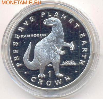 Остров Мэн 1 крона 1993. Доисторическое животное- Игуанодон.