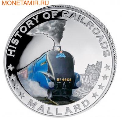 Либерия 5 долларов 2011. История железных дорог. Паровоз Маллард. (фото)