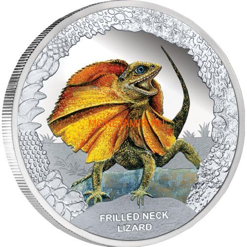 Тувалу 1 доллар 2013 Плащеносная Ящерица Замечательные Рептилии (Tuvalu $1 2013 Frilled Neck Lizard Remarkable Reptiles 1oz Silver Proof Coin).Арт.000302043253/60 (фото)