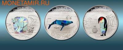 Острова Кука 3х5 долларов 2013.Полярный медведь Пингвин Кит (призма).Арт.000184842586/60 (фото)