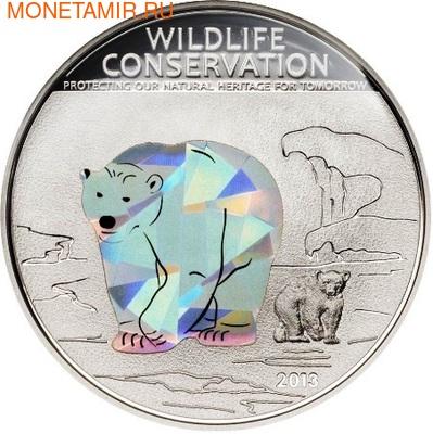Острова Кука 5 долларов 2013.Полярный медведь (призма).Арт.000184842586/60 (фото)