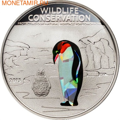 Острова Кука 5 долларов 2013.Пингвин (призма).Арт.000184842605/60 (фото)