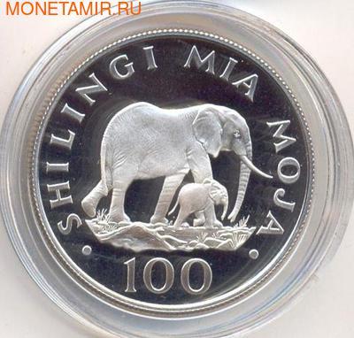 Слоны. Танзания 100 шиллингов 1986. (фото)