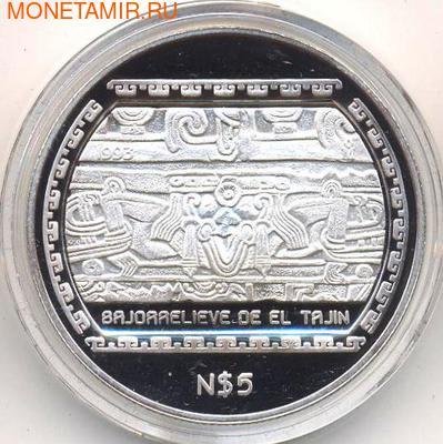 Барельеф Тажина. Мексика 5 новых песо 1993. (фото)