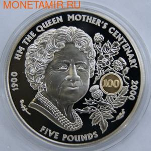 100-летие Королевы-матери. Гернси 5 фунтов 2000. (фото)