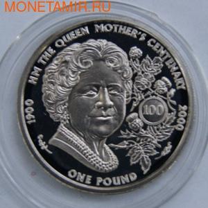 100-летие Королевы-матери. Гернси 1 фунт 2000. (фото)