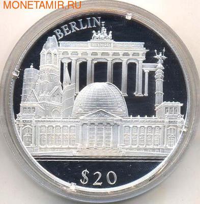 Либерия 20 долларов 2000. Города мира. Берлин. (фото)