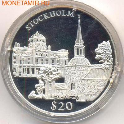 Либерия 20 долларов 2000. Города мира. Стокгольм. (фото)