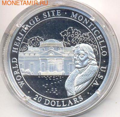 Либерия 20 долларов 2000. Города мира. Монте-Карло. (фото)