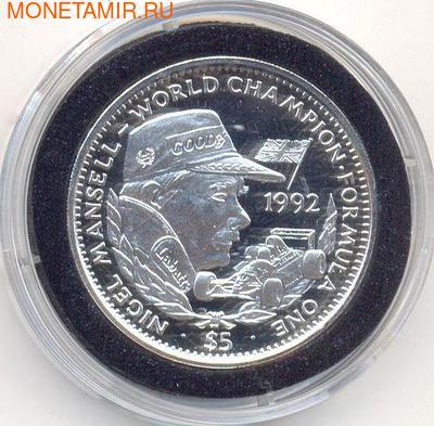 Формула-1. Мэнселл Найджел. Либерия 5 долларов 1992. (фото)
