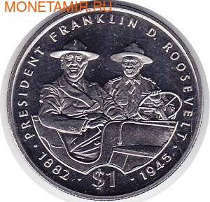 Франклин и Рузвельт на автомобиле. Либерия 1 доллар 1995. (фото)