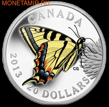 """Канада 20 долларов 2013. Серия """"Бабочки Канады"""" - """"Махаон"""""""