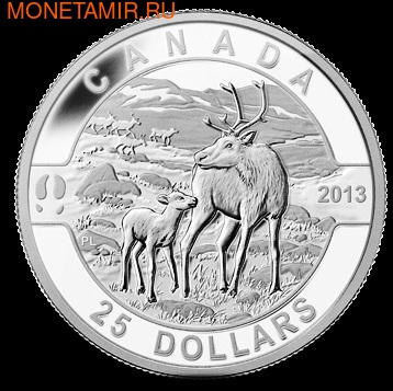 Канада 25 долларов 2013.Олень Карибу с детенышем.Арт.000273744190/60 (фото)