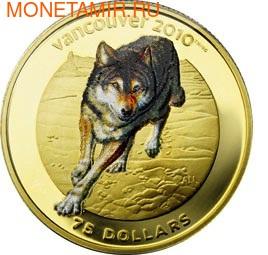 Канада 75 долларов 2009. Серия: Ванкувер – 2010. Волк (фото)