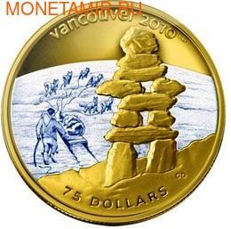 Канада 75 долларов 2008. Серия: Ванкувер – 2010. Инукшук (фото)
