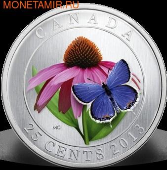Канада 25 центов 2013. Эхинацея пурпурная и бабочка (фото)