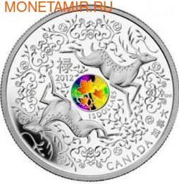 Канада 15 долларов 2012. Два оленя. На удачу (фото)