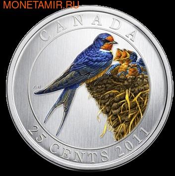 Канада 25 центов 2011. Ласточка (фото)
